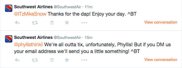 Southwest signed tweets