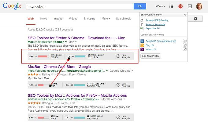 moz toolbar search results