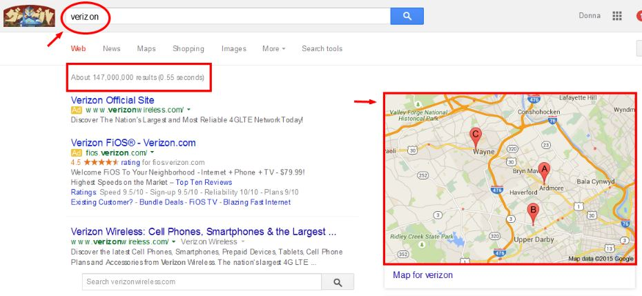 verizon search result
