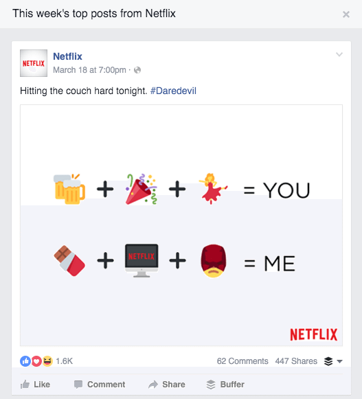 Netflix, pages to watch, facebook insights