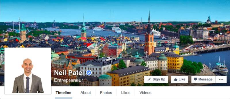 Facebook, Facebook pages, Neil Patel