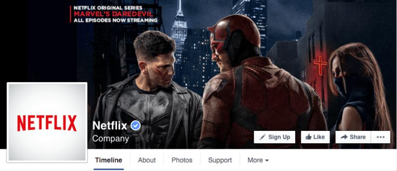 Facebook, Facebook pages, Netflix