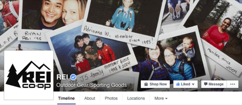Facebook, Facebook pages, REI