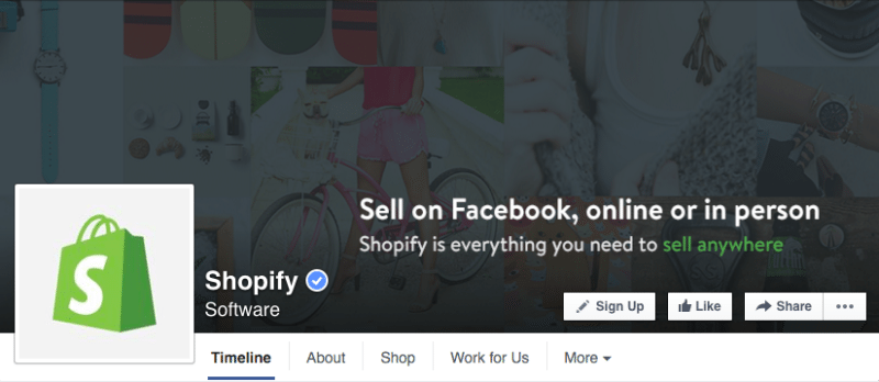 Facebook, Facebook pages, Shopify