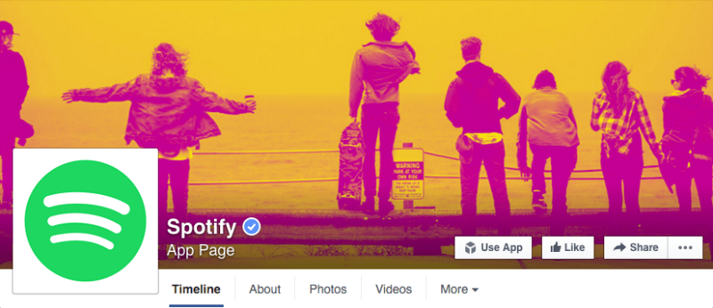 Facebook, Facebook pages, Spotify