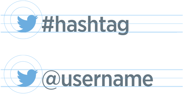 twitter logo and username + hashtag style guide