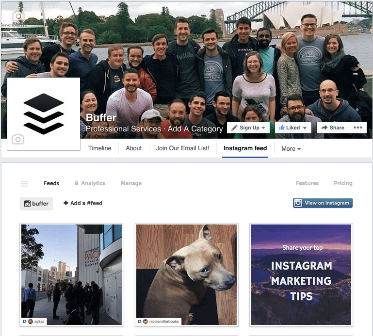 Facebook page with Instagram feed
