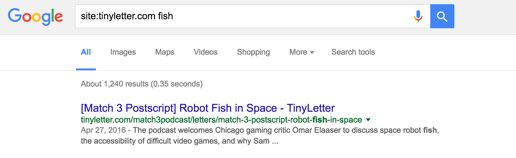 Newsletter search hack